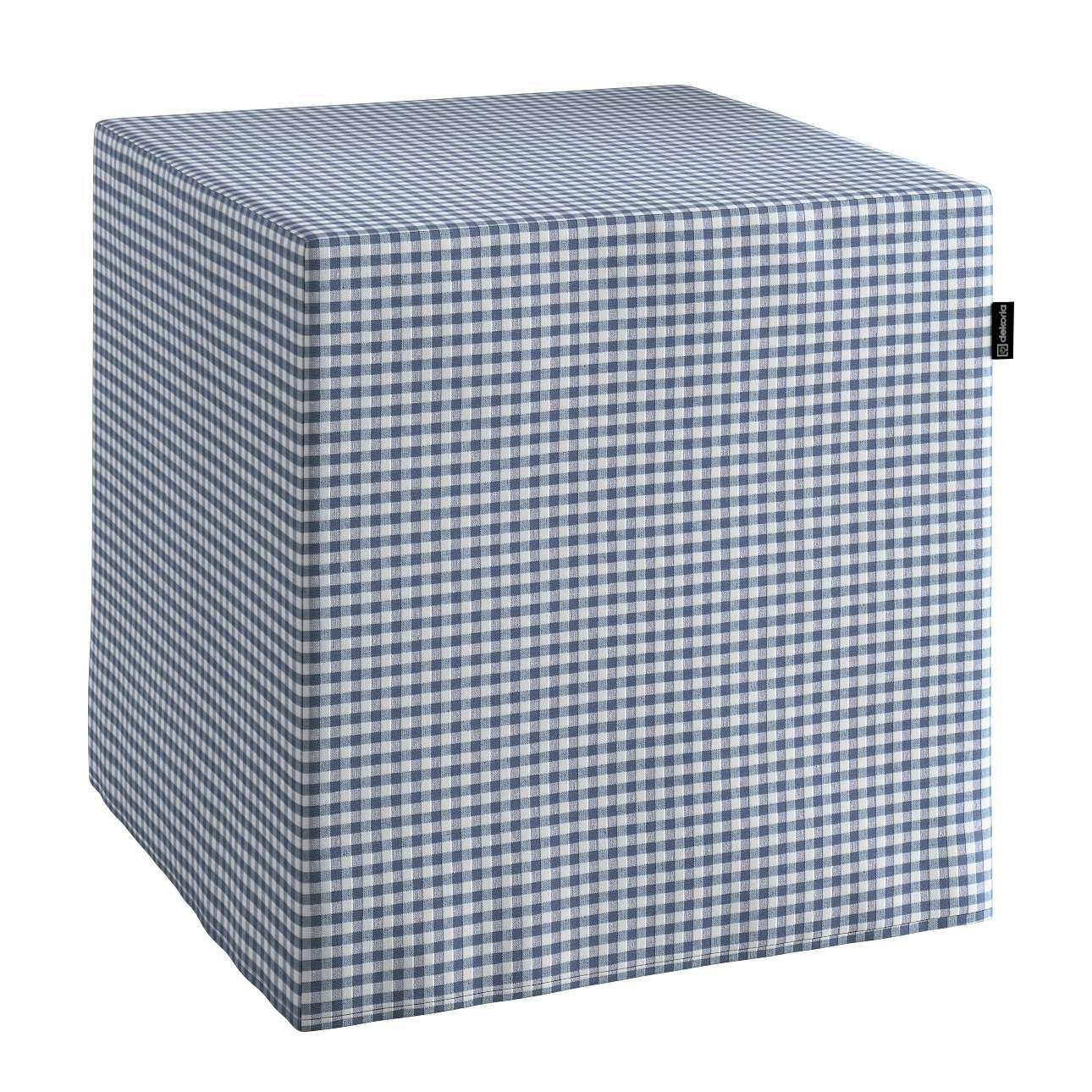 Pokrowiec na pufę kostke kostka 40x40x40 cm w kolekcji Quadro, tkanina: 136-00