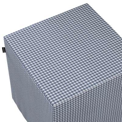 Pokrowiec na pufę kostkę 136-00 granatowo biała krateczka (0,5x0,5cm) Kolekcja Quadro