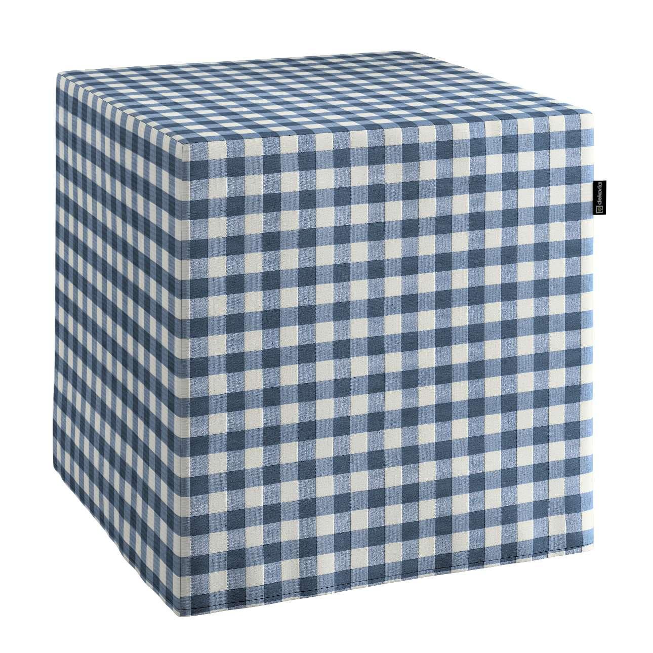 Pokrowiec na pufę kostke kostka 40x40x40 cm w kolekcji Quadro, tkanina: 136-01