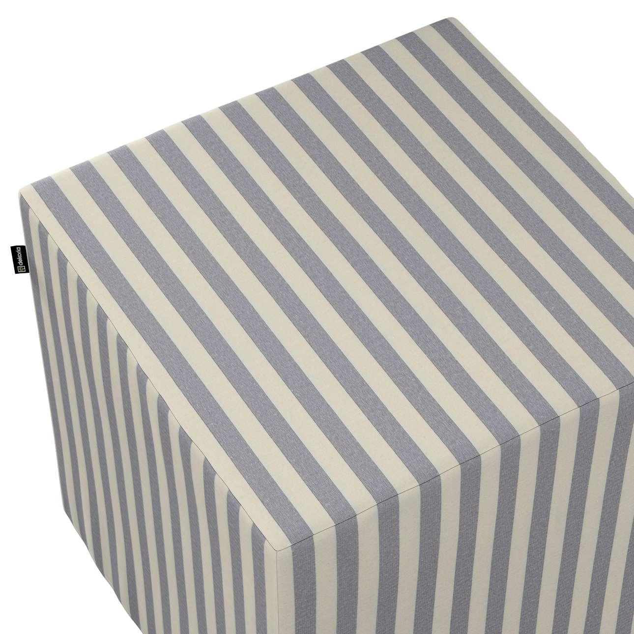 Pokrowiec na pufę kostkę w kolekcji Quadro, tkanina: 136-02