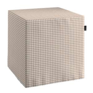 Pokrowiec na pufę kostke kostka 40x40x40 cm w kolekcji Quadro, tkanina: 136-05