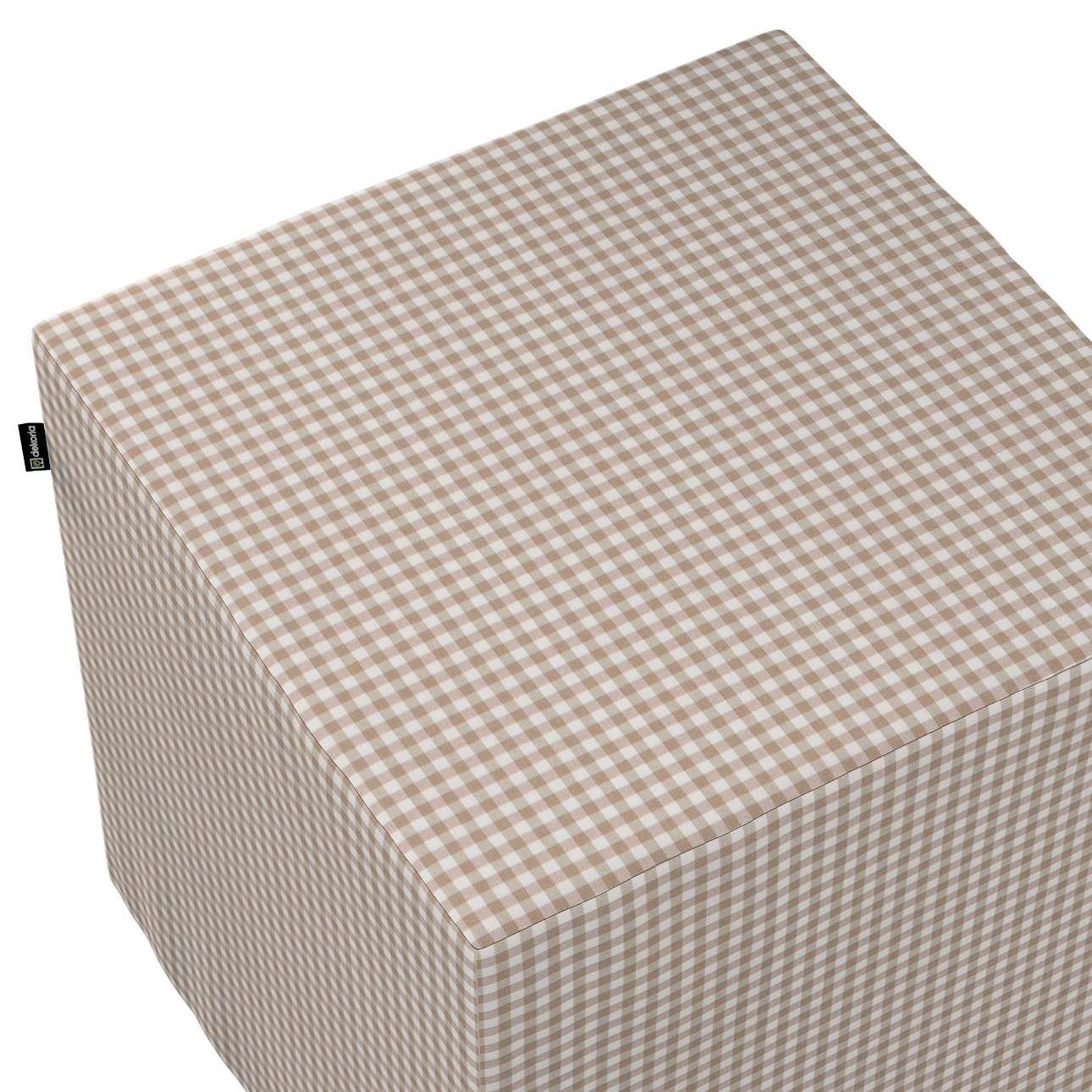 Pokrowiec na pufę kostkę w kolekcji Quadro, tkanina: 136-05