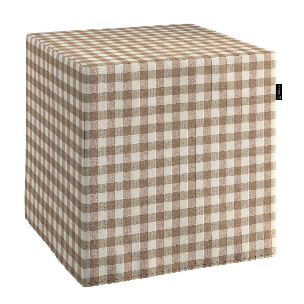 Pokrowiec na pufę kostke kostka 40x40x40 cm w kolekcji Quadro, tkanina: 136-06