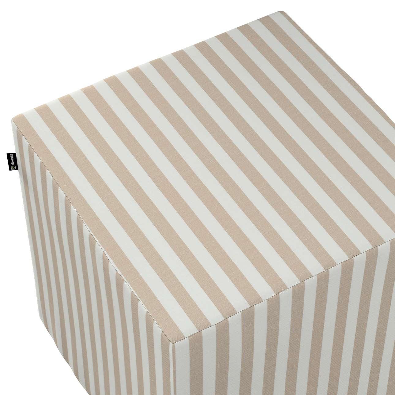 Pokrowiec na pufę kostkę w kolekcji Quadro, tkanina: 136-07
