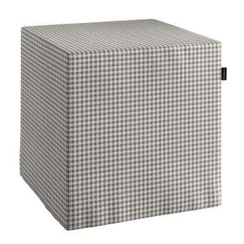 Pokrowiec na pufę kostke w kolekcji Quadro, tkanina: 136-10
