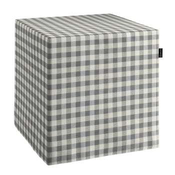 Pokrowiec na pufę kostke w kolekcji Quadro, tkanina: 136-11