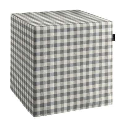 Pokrowiec na pufę kostkę w kolekcji Quadro, tkanina: 136-11