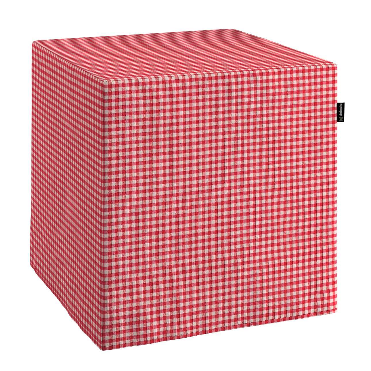 Pokrowiec na pufę kostke kostka 40x40x40 cm w kolekcji Quadro, tkanina: 136-15