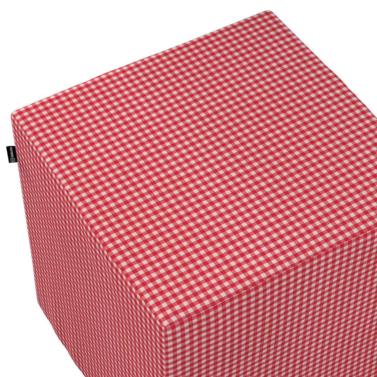 Pokrowiec na pufę kostkę w kolekcji Quadro, tkanina: 136-15