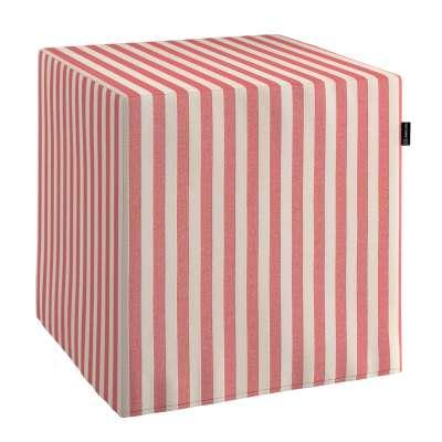 Poťah na taburetku,kocka 136-17 červeno-biele prúžky Kolekcia Quadro