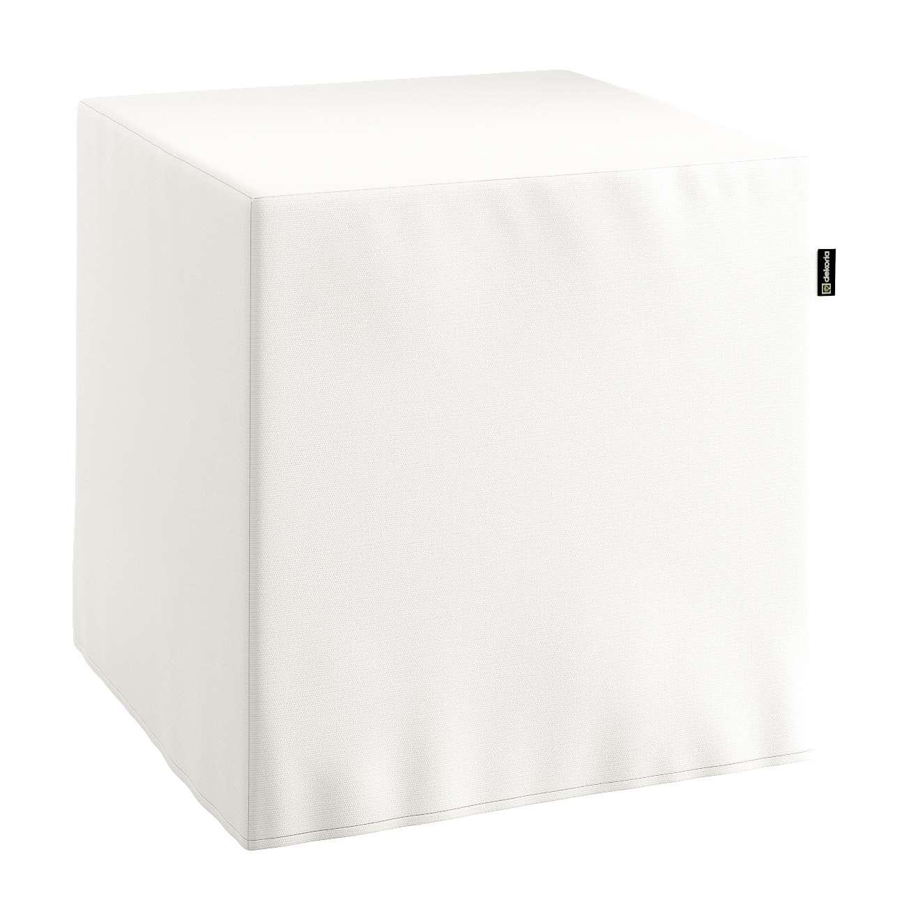 Pokrowiec na pufę kostke kostka 40x40x40 cm w kolekcji Cotton Panama, tkanina: 702-34