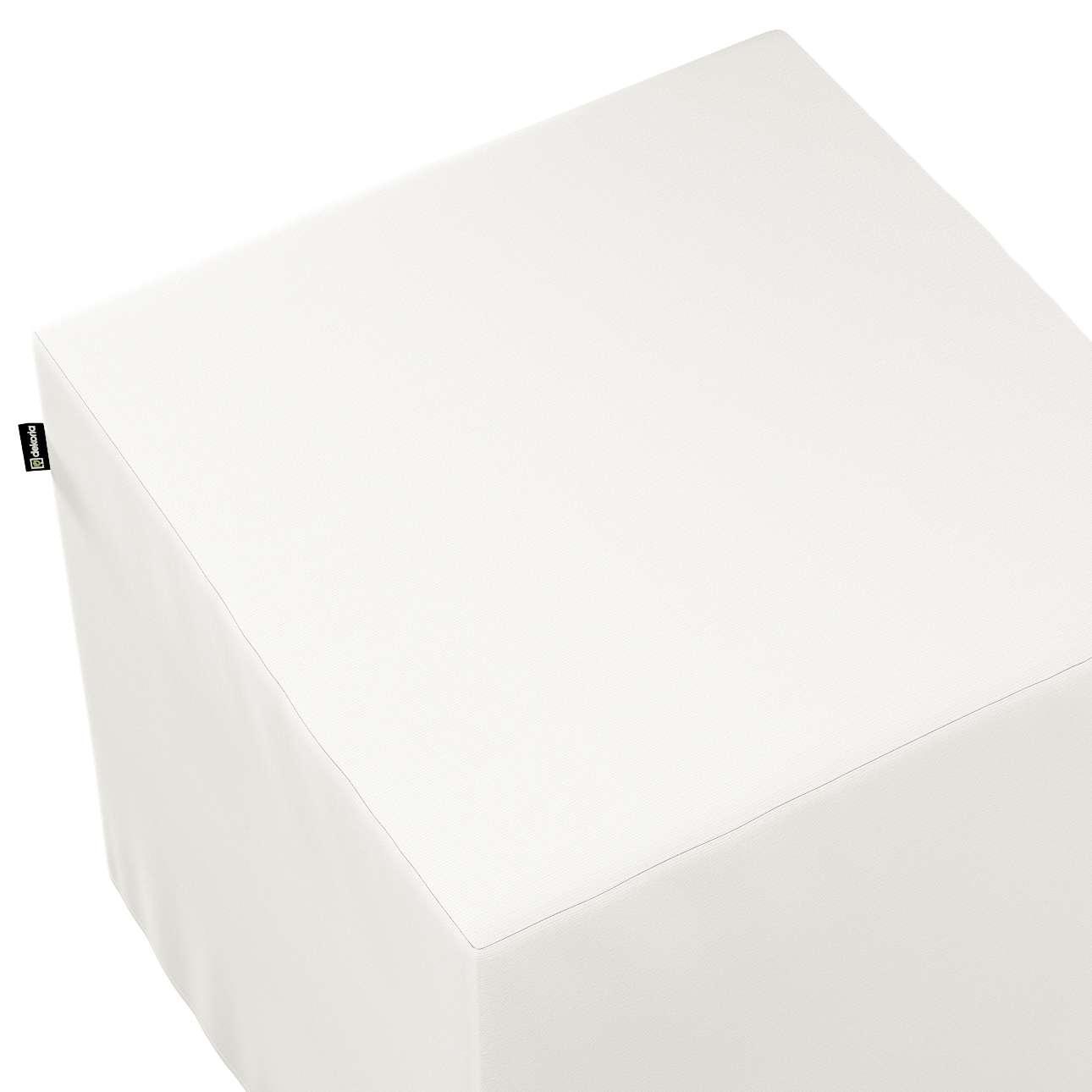 Pokrowiec na pufę kostkę w kolekcji Cotton Panama, tkanina: 702-34