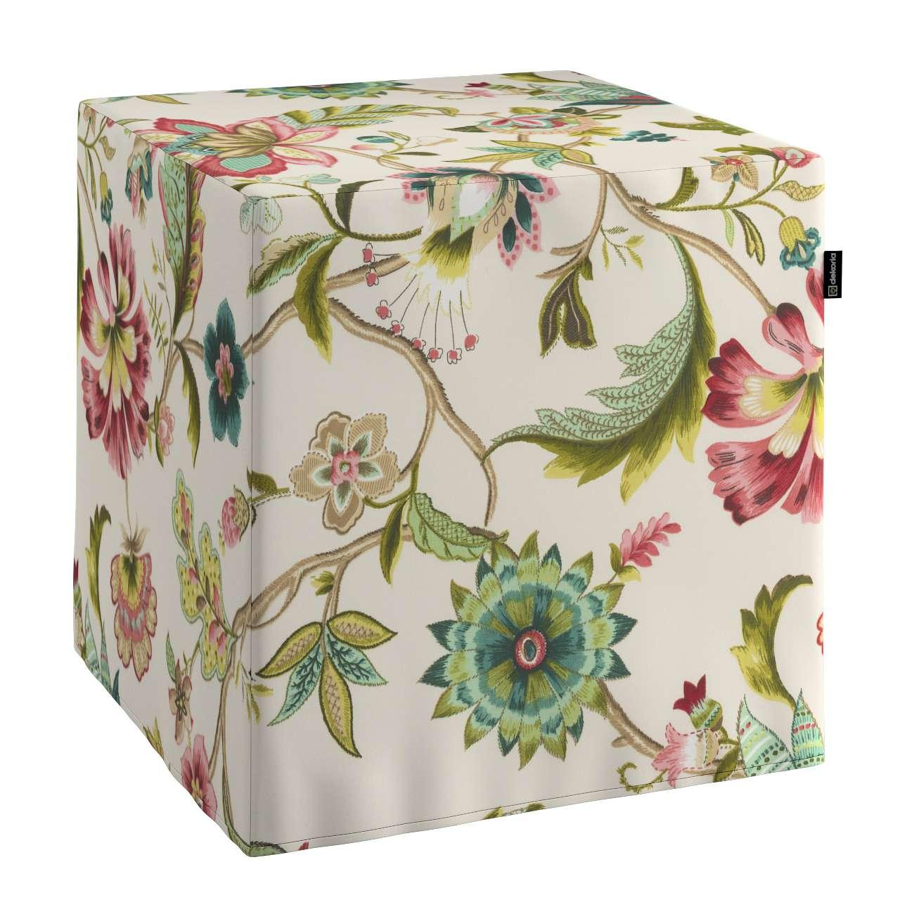 Pokrowiec na pufę kostke w kolekcji Londres, tkanina: 122-00