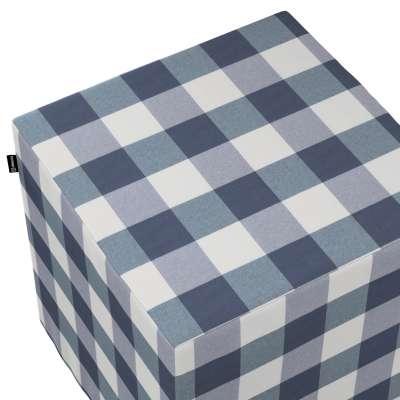 Pokrowiec na pufę kostkę w kolekcji Quadro, tkanina: 136-03