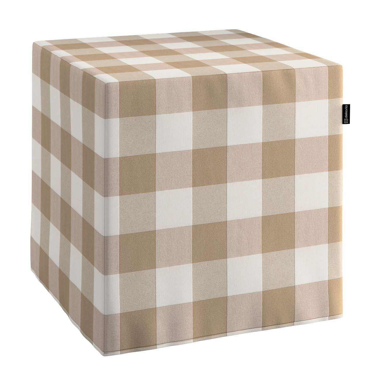 Pokrowiec na pufę kostke w kolekcji Quadro, tkanina: 136-08
