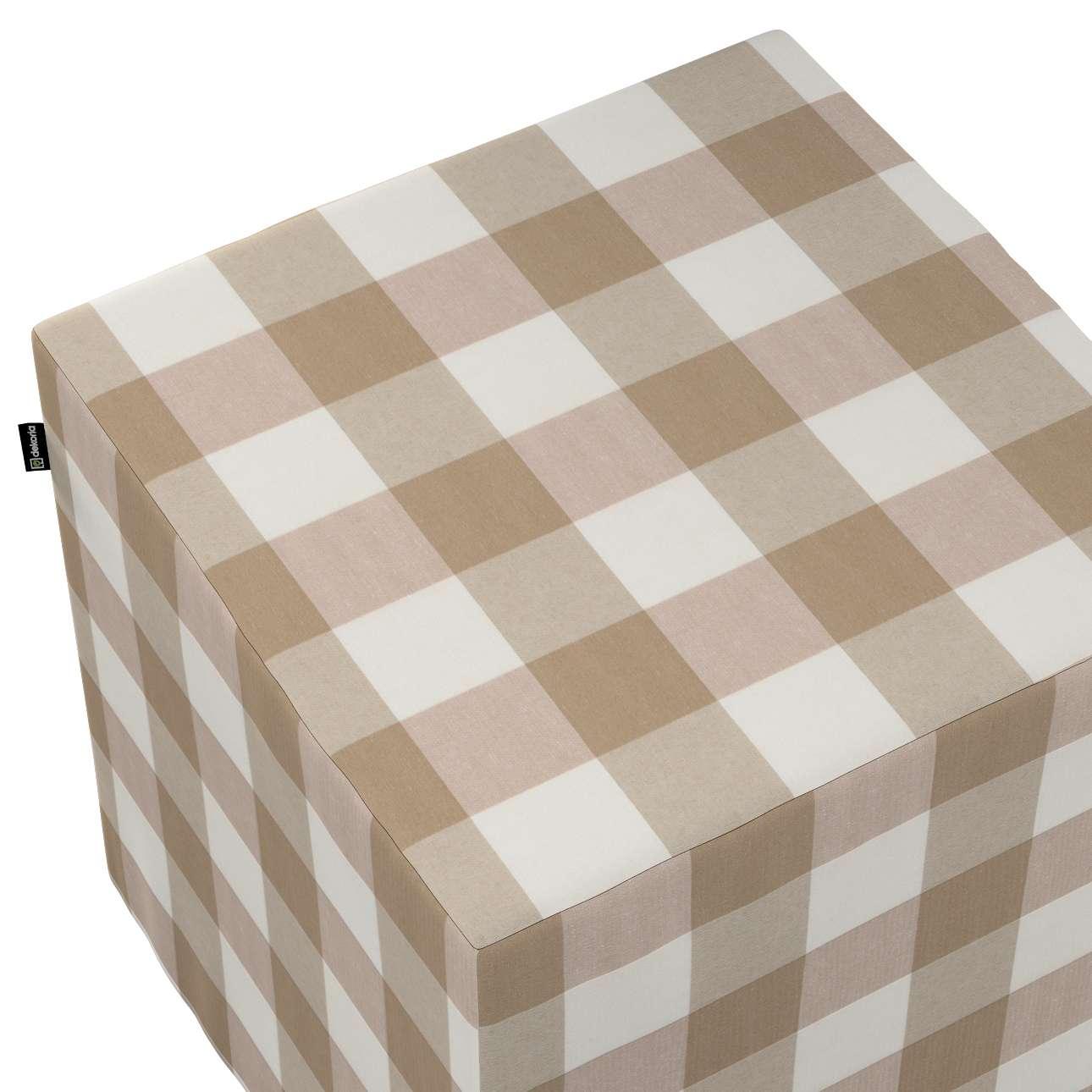 Pokrowiec na pufę kostkę w kolekcji Quadro, tkanina: 136-08
