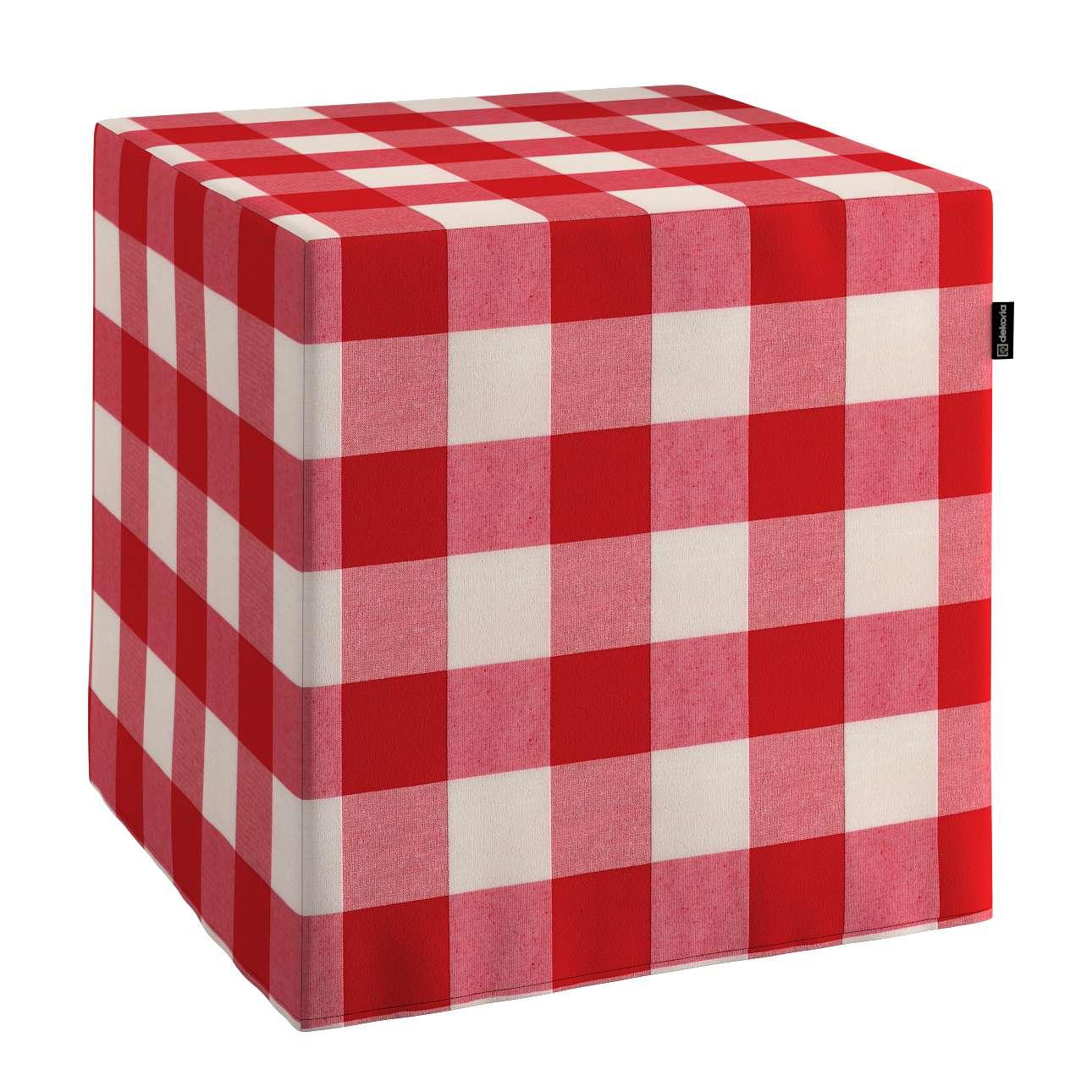 Pokrowiec na pufę kostke w kolekcji Quadro, tkanina: 136-18