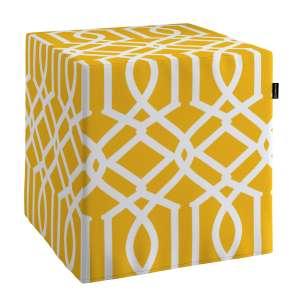 Pokrowiec na pufę kostke kostka 40x40x40 cm w kolekcji Comics, tkanina: 135-09