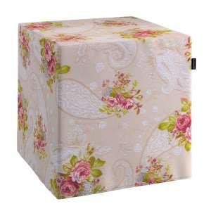 Pokrowiec na pufę kostke kostka 40x40x40 cm w kolekcji Flowers, tkanina: 311-15