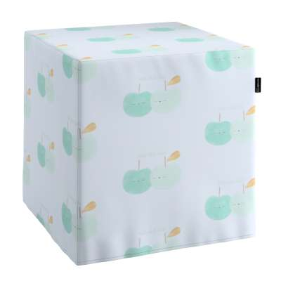 Pokrowiec na pufę kostkę 151-02 pastelowo zielone jabłuszka na białym tle Kolekcja Little World