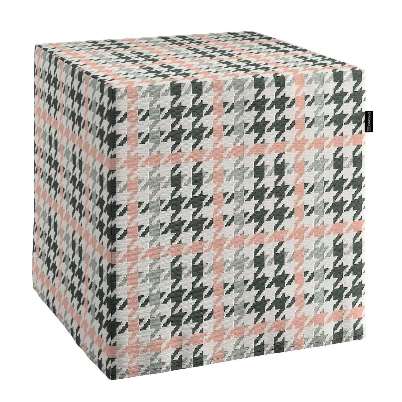 Pokrowiec na pufę kostke w kolekcji Brooklyn, tkanina: 137-75