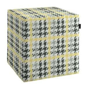 Pokrowiec na pufę kostke kostka 40x40x40 cm w kolekcji Brooklyn, tkanina: 137-79