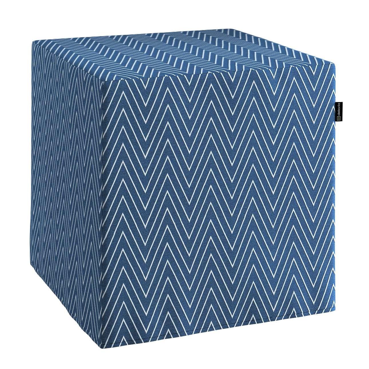 Pokrowiec na pufę kostke kostka 40x40x40 cm w kolekcji Brooklyn, tkanina: 137-88