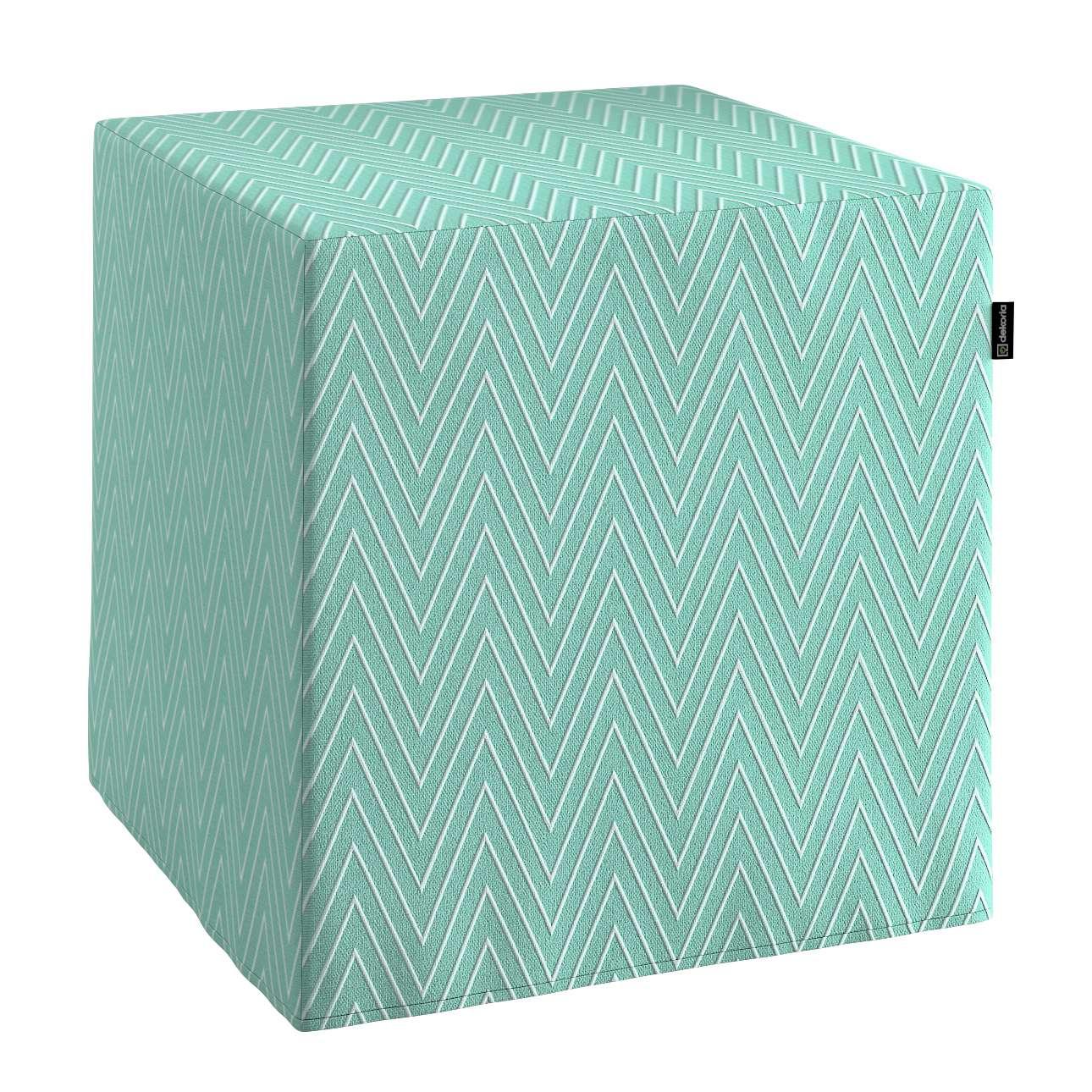 Pokrowiec na pufę kostke kostka 40x40x40 cm w kolekcji Brooklyn, tkanina: 137-90