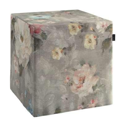 Pokrowiec na pufę kostkę 137-81 niebieskie i różowe kwiaty na szarym tle Kolekcja Flowers