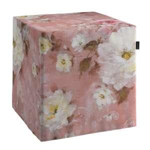 Pokrowiec na pufę kostke kostka 40x40x40 cm w kolekcji Monet, tkanina: 137-83