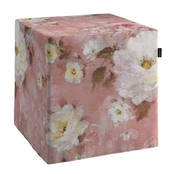 Pokrowiec na pufę kostke w kolekcji Monet, tkanina: 137-83