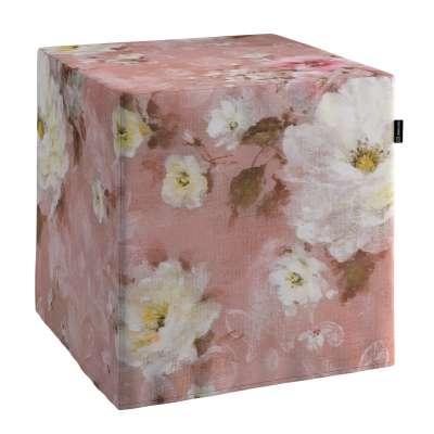 Poťah na taburetku,kocka 137-83 krémove a ružové kvety na tmavo ružovom podklade Kolekcia Flowers