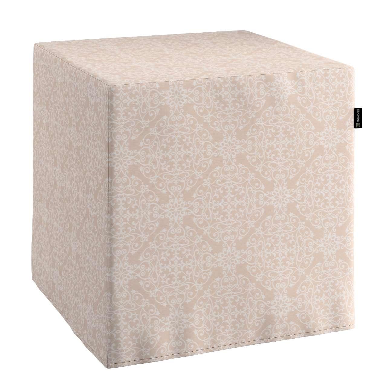 Pokrowiec na pufę kostke kostka 40x40x40 cm w kolekcji Flowers, tkanina: 140-39