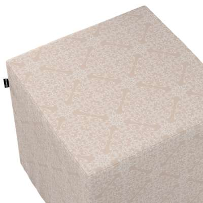 Pokrowiec na pufę kostkę w kolekcji Flowers, tkanina: 140-39