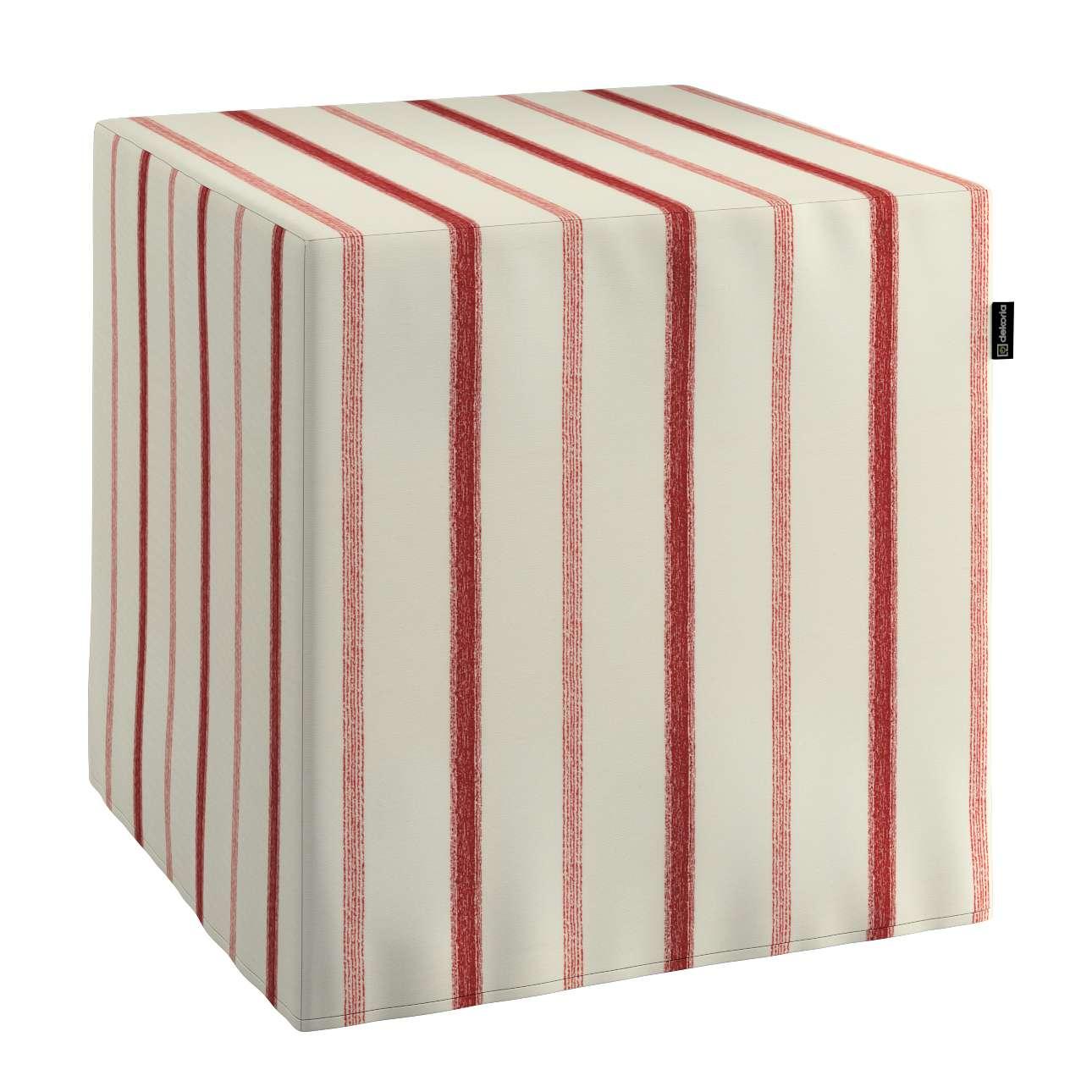 Pokrowiec na pufę kostke kostka 40x40x40 cm w kolekcji Avinon, tkanina: 129-15