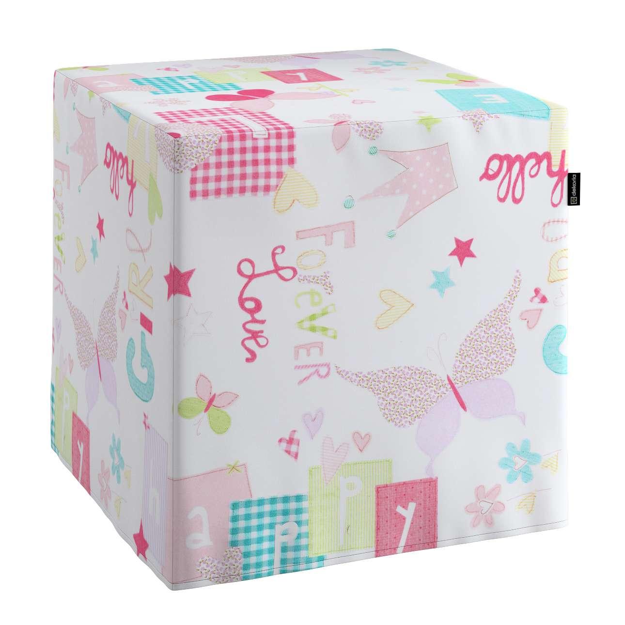 Poťah na taburetku,kocka V kolekcii Little World, tkanina: 141-51