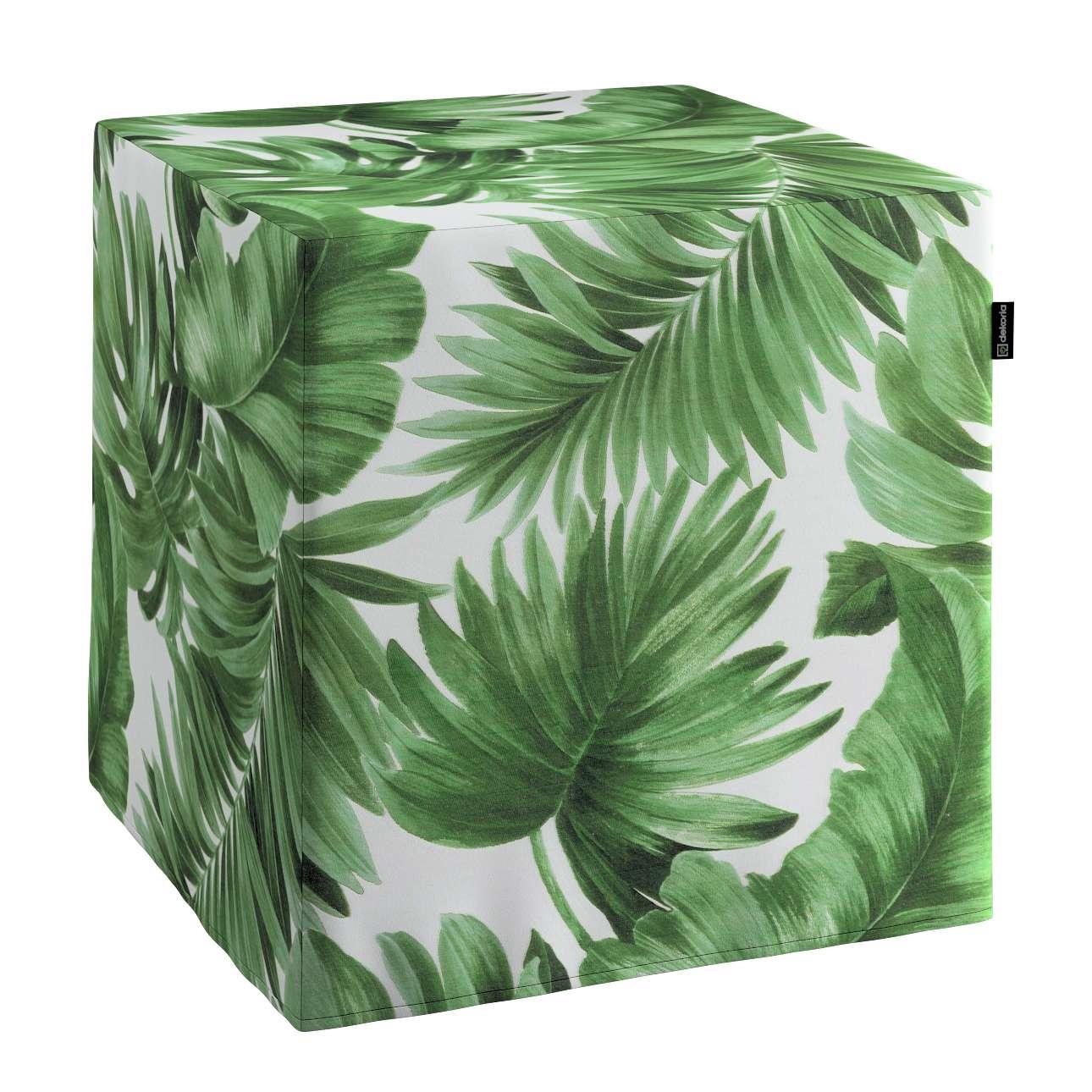 Pokrowiec na pufę kostke w kolekcji Urban Jungle, tkanina: 141-71