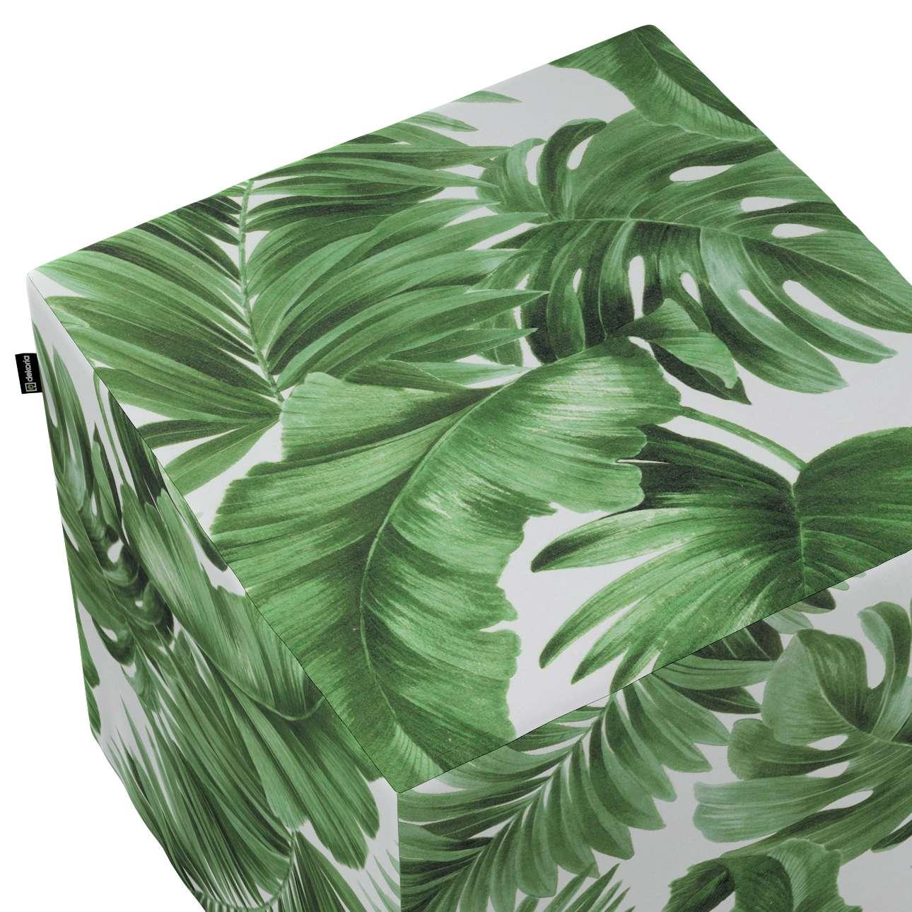 Pokrowiec na pufę kostkę w kolekcji Tropical Island, tkanina: 141-71