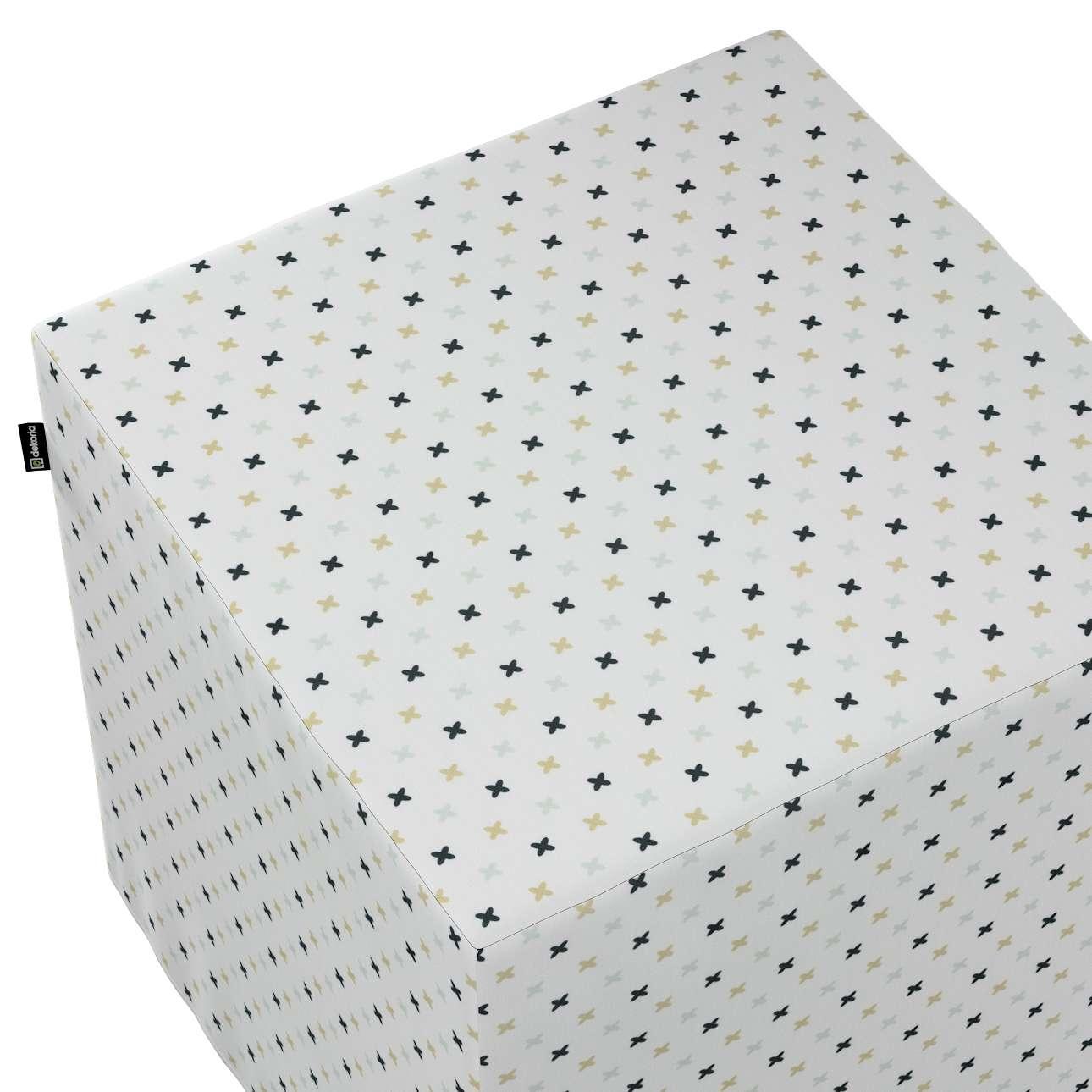 Pokrowiec na pufę kostkę w kolekcji Adventure, tkanina: 141-83