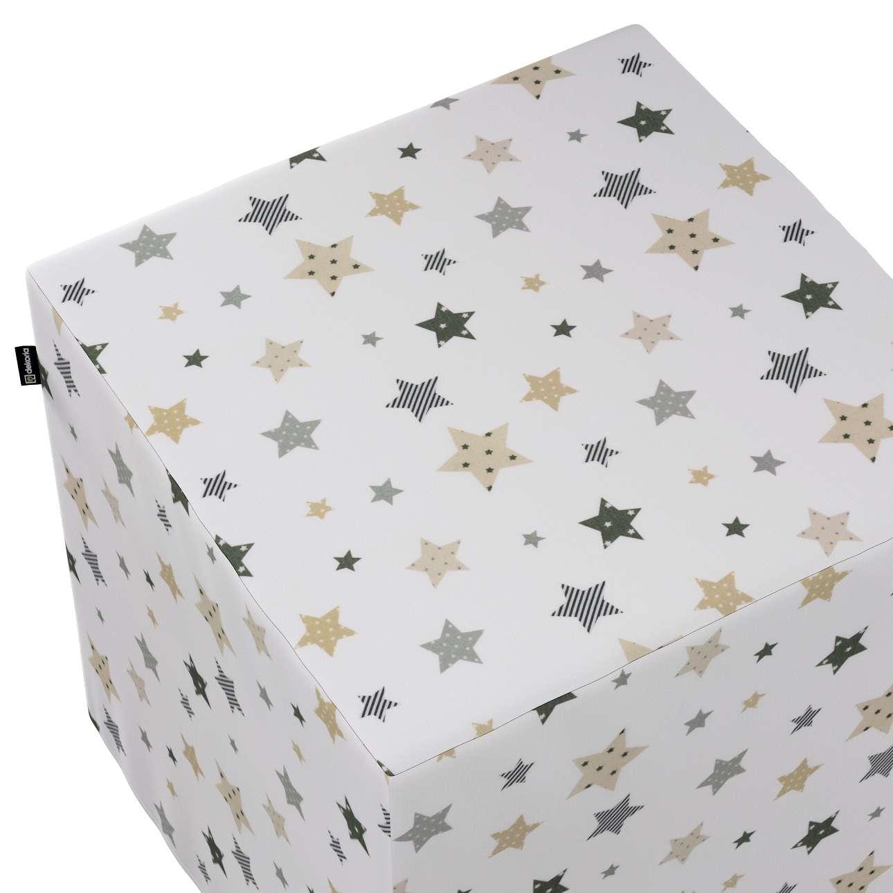 Pokrowiec na pufę kostkę w kolekcji Adventure, tkanina: 141-86