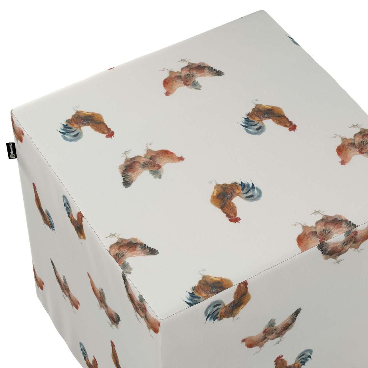 Pokrowiec na pufę kostkę w kolekcji Flowers, tkanina: 141-80