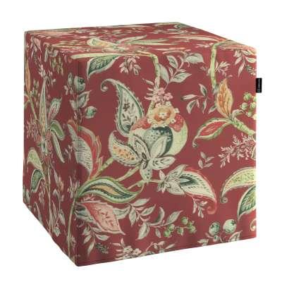Pokrowiec na pufę kostkę 142-12 wzory roślinne i kwiatowe na czerwono-ceglanym tle Kolekcja Gardenia
