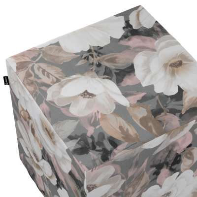Poťah na taburetku,kocka 142-13 svetlé kvety na sivom podklade so svetlo ružovou a béžovou Kolekcia Gardenia