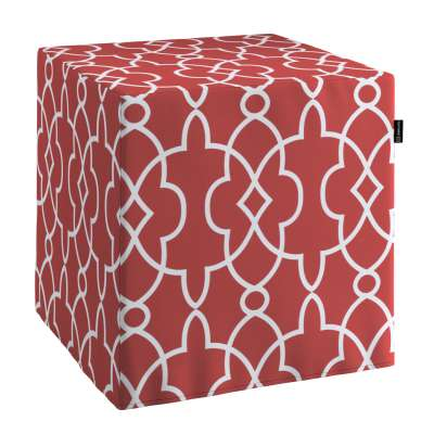 Pokrowiec na pufę kostkę 142-21 czerwony w biały marokański wzór Kolekcja Gardenia