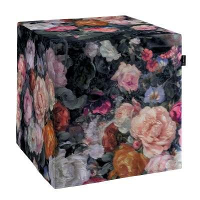 Poťah na taburetku,kocka 161-02 farebné kvety na tmavom pozadí Kolekcia Gardenia