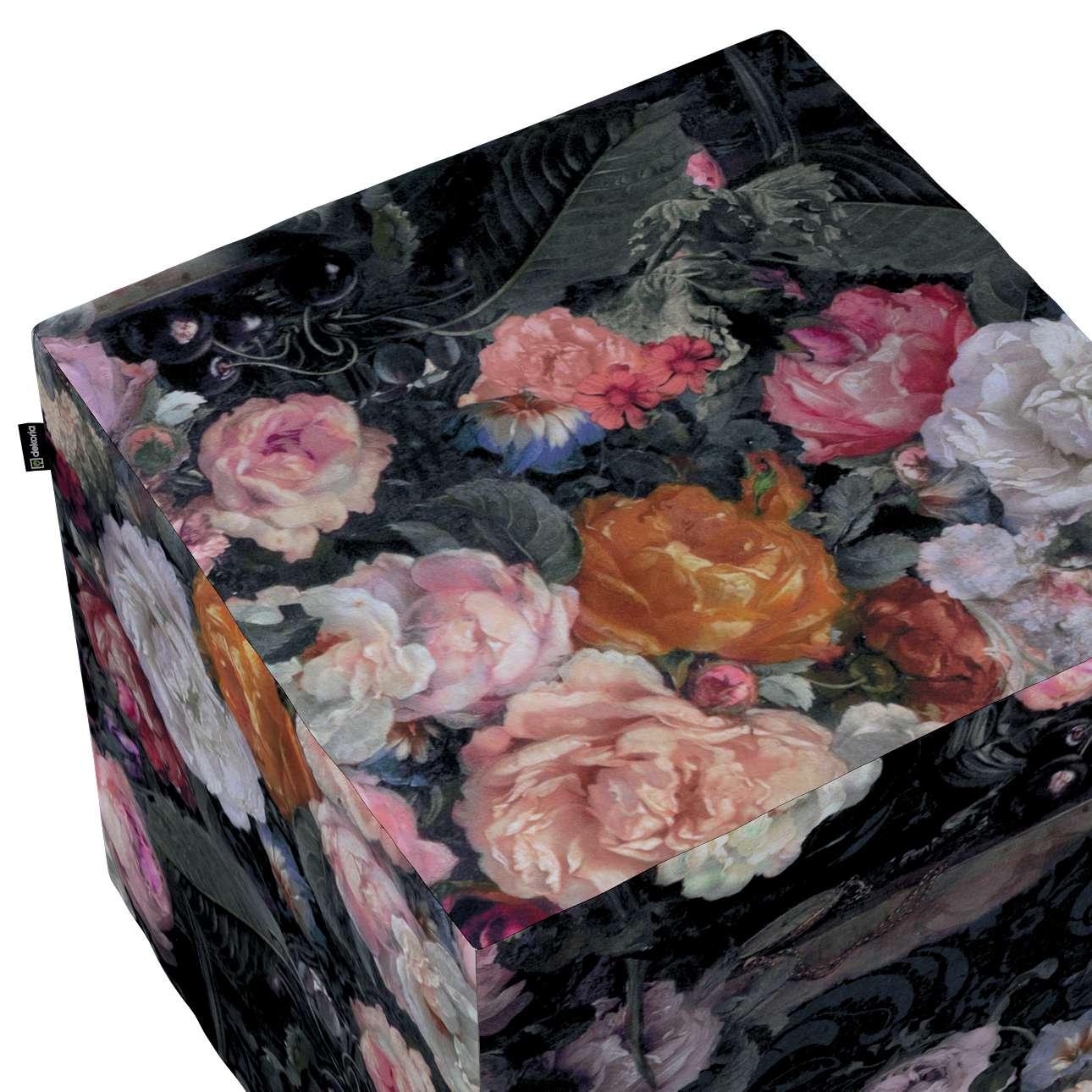 Pokrowiec na pufę kostkę w kolekcji Gardenia, tkanina: 161-02