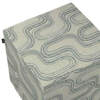Poťah na taburetku,kocka 143-14 šedé vzory na ľanovom podklade Kolekcia Comics