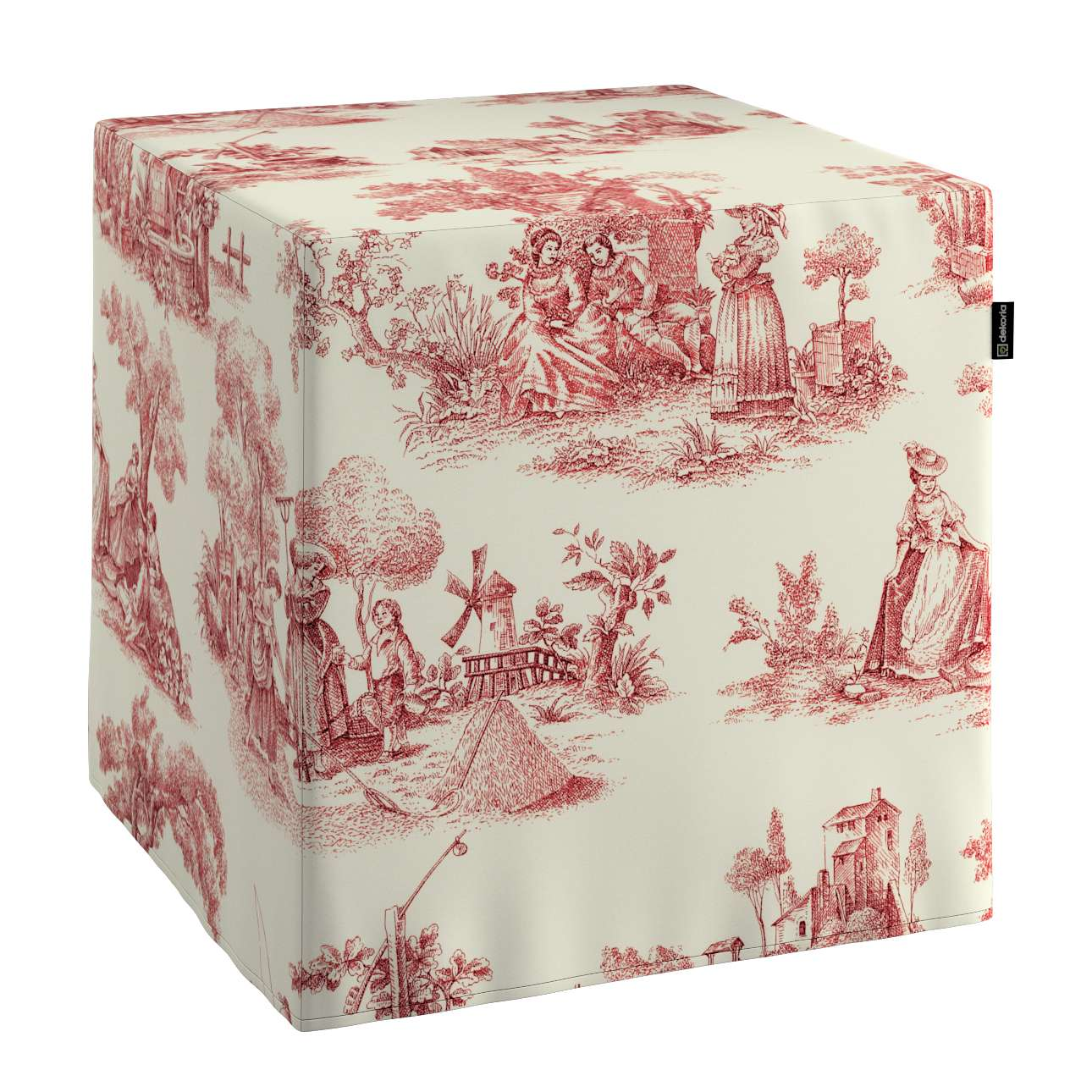 Pokrowiec na pufę kostke kostka 40x40x40 cm w kolekcji Avinon, tkanina: 132-15