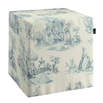 Pokrowiec na pufę kostke w kolekcji Avinon, tkanina: 132-66
