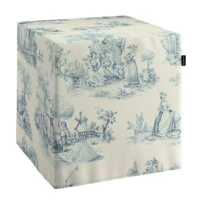 Trekk til sitttepuff 132-66 Blå print, creme bakgrunn Kolleksjon Avinon